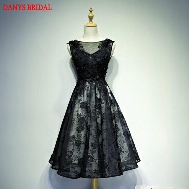 7ff02488f6 Formalne Krótkie Sukienki Koktajlowe Koronkowe Paciorkami Sexy Prom Party  Coctail Dress Czarna Mała Suknia vestidos de