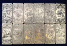 Old Chinese Twelve Zodiac tibet Silver Bullion thanka amulet