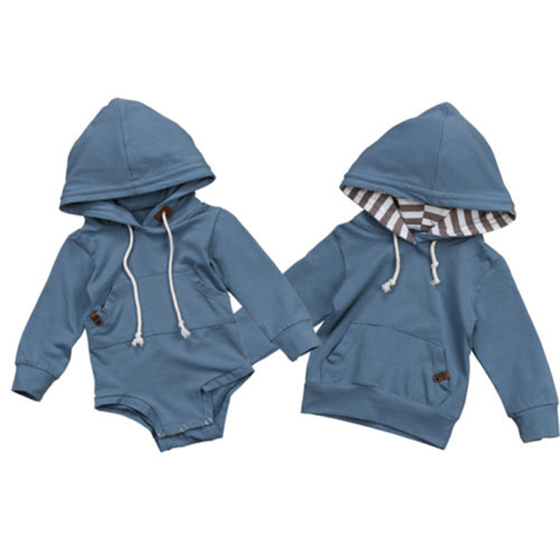 Cute Baby Boys Romper Hot Newborn Baby Boy Warm Long Sleeve Hooded Top Romper Hoodie Sweatshirt 2017 New Bebes Kids Boy Clothes