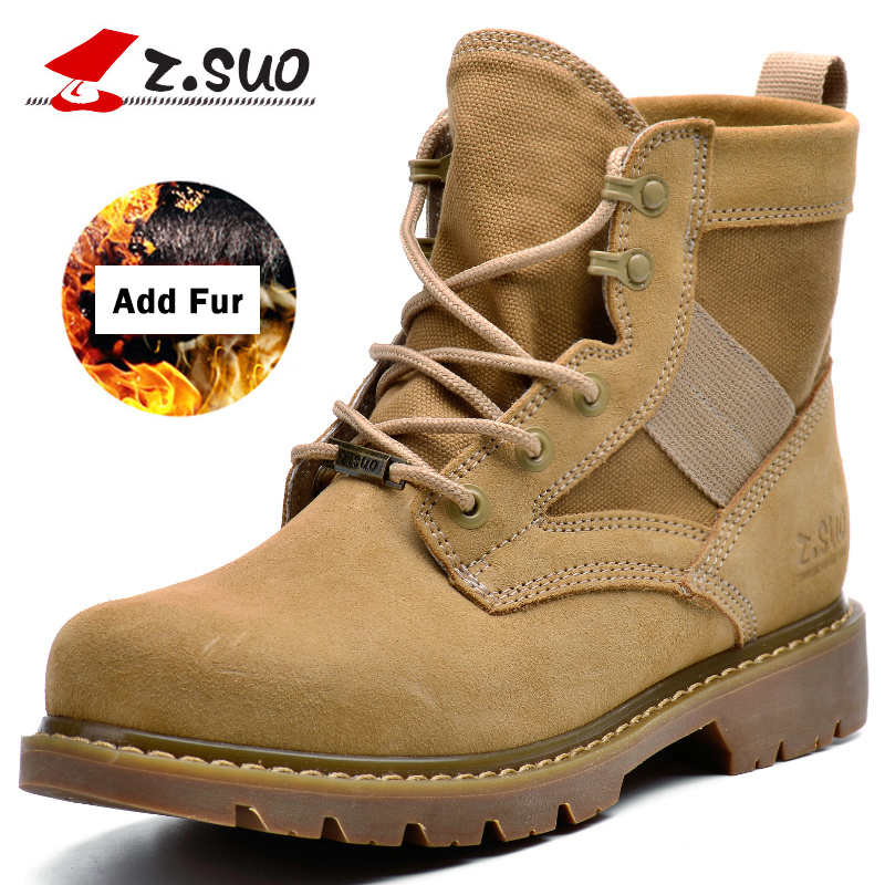 Z.Suo Men's Add Fur Warm Winter Military Boots Tactical Desert Combat Ankle Shoes Male High Top Casual Outdoor Work Snow Shoes 2016 winter warm men s thickening platforms waterproof shoes military desert male knee high snow boots outdoor hunting botas 47 page 5