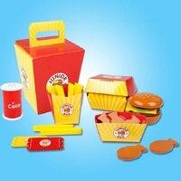 Brinquedo De Madeira Pretend Play Food Hambúrgueres SUKIToy Família Barris Blocos Montessori miúdo Macio Set Classic toys presente de alta qualidade
