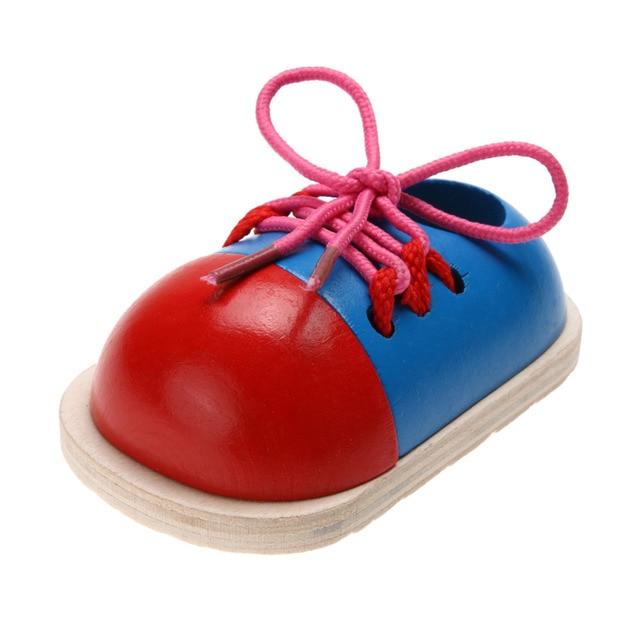 1 шт. Дети Монтессори Обучающие Игрушки для Детей Деревянные Игрушки Малыша Шнуровкой Обувь Раннее Образование Монтессори учебных Пособий