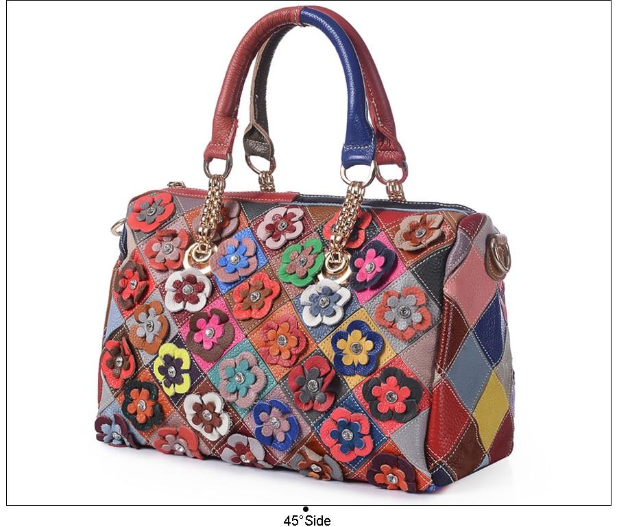 2e0d5e0c2c7d ESUFEIR Brand Genuine Leather Boston Women Handbag Fashion Diamond ...