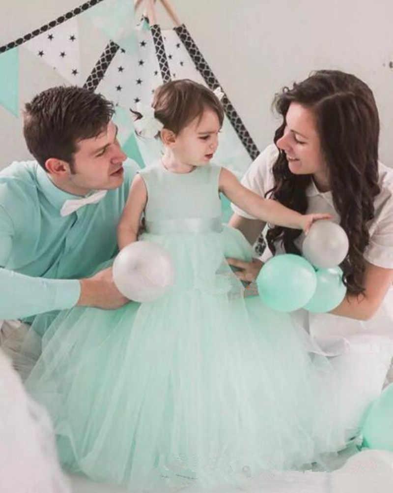2019 מנטה טול כדור שמלות פרח בנות שמלות הולו חזרה עם קשתות יפה בנות מסיבת יום הולדת שמלות זול פעוט שמלות
