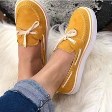 2019 Casual Flat Plus Size Women Sneakers Ladies Suede Bow Tie Slip On Shallow Comfort Vulcanized
