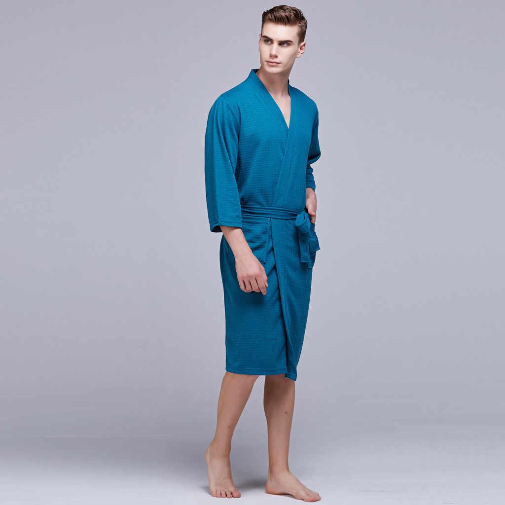 YOUYEDIAN 夏セクシーなローブミドル薄型男性のチュニックバスローブツーピーススーツ男性ドレッシング男性快適絹のようなローブ # g35