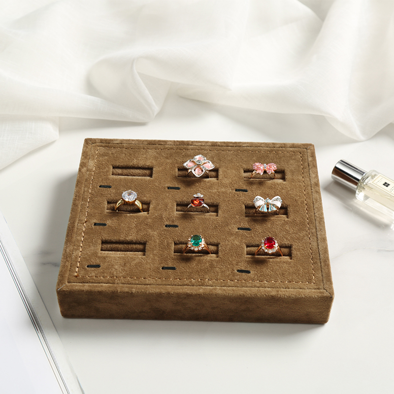New Jewelry Display Tray 9 Holes Earrings/Ring Display Props Ear Stud Stand With Brown Fabric