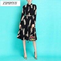 2018 Runway Designer Spring Dress Women S Long Sleeves Colorful Diamonds Black Sequined High End Dress