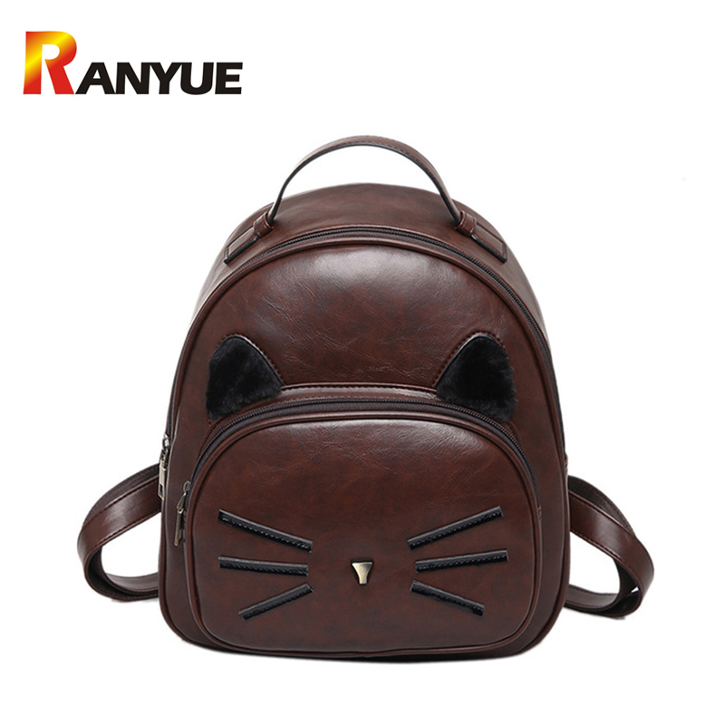 New Fashion Women Backpack  High Quality PU Leather Backpack Cute Cat Shoulder School Bags For Teenage Girls Mini Female Bag Sac  2016 high quality fashion new women backpack pu leather ladies shoulder bag college frosted backpack wild simple mini school bag