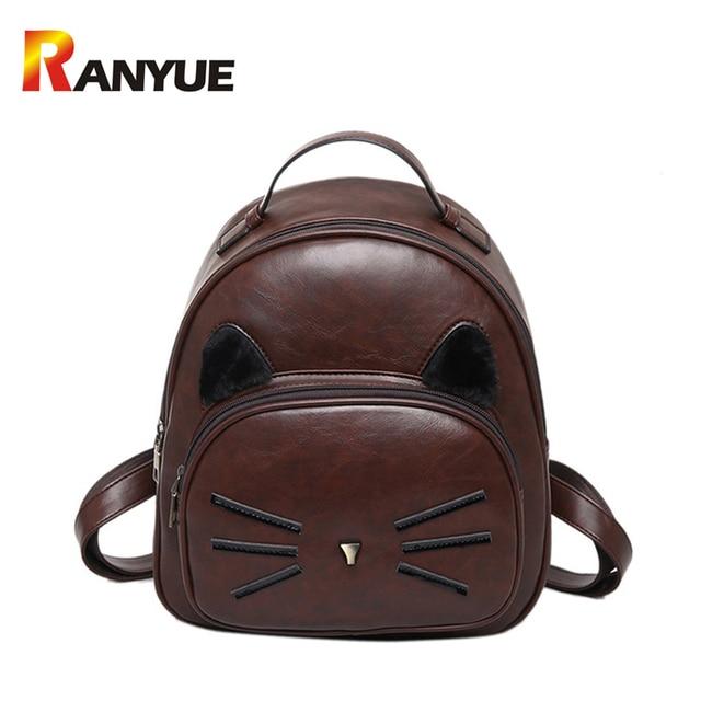 c0c9bc6309 New Fashion Women Backpack High Quality PU Leather Backpack Cute Cat  Shoulder School Bags For Teenage Girls Mini Female Bag Sac