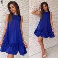 Женская Летняя Мода Свободные Сплошной Цвет Трепал Рукавов Пляж Танк Платье