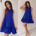 Women's Summer Fashion Loose Solid Color Ruffled Sleeveless Beach Tank Dress