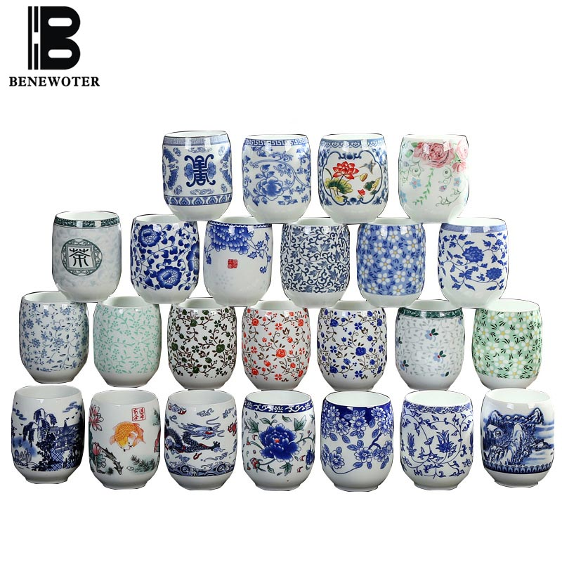 2pcs/lot Jingdezhen Blue and White Porcelain Teacup Ceramic Porcelain Water Cup Home Master Tea Cups Chinese Teaware Drinkware