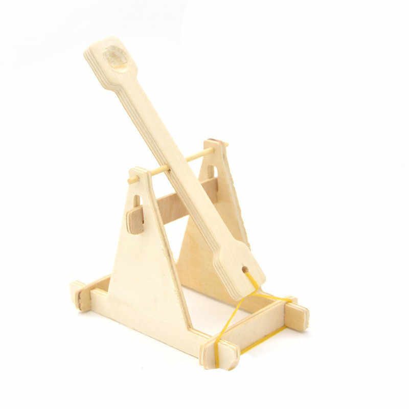 Wooden Catapult Vehicle Model Building Kits DIY Trebuchet Blocks Educational Toys for Children Kids Scientific Experiment Models
