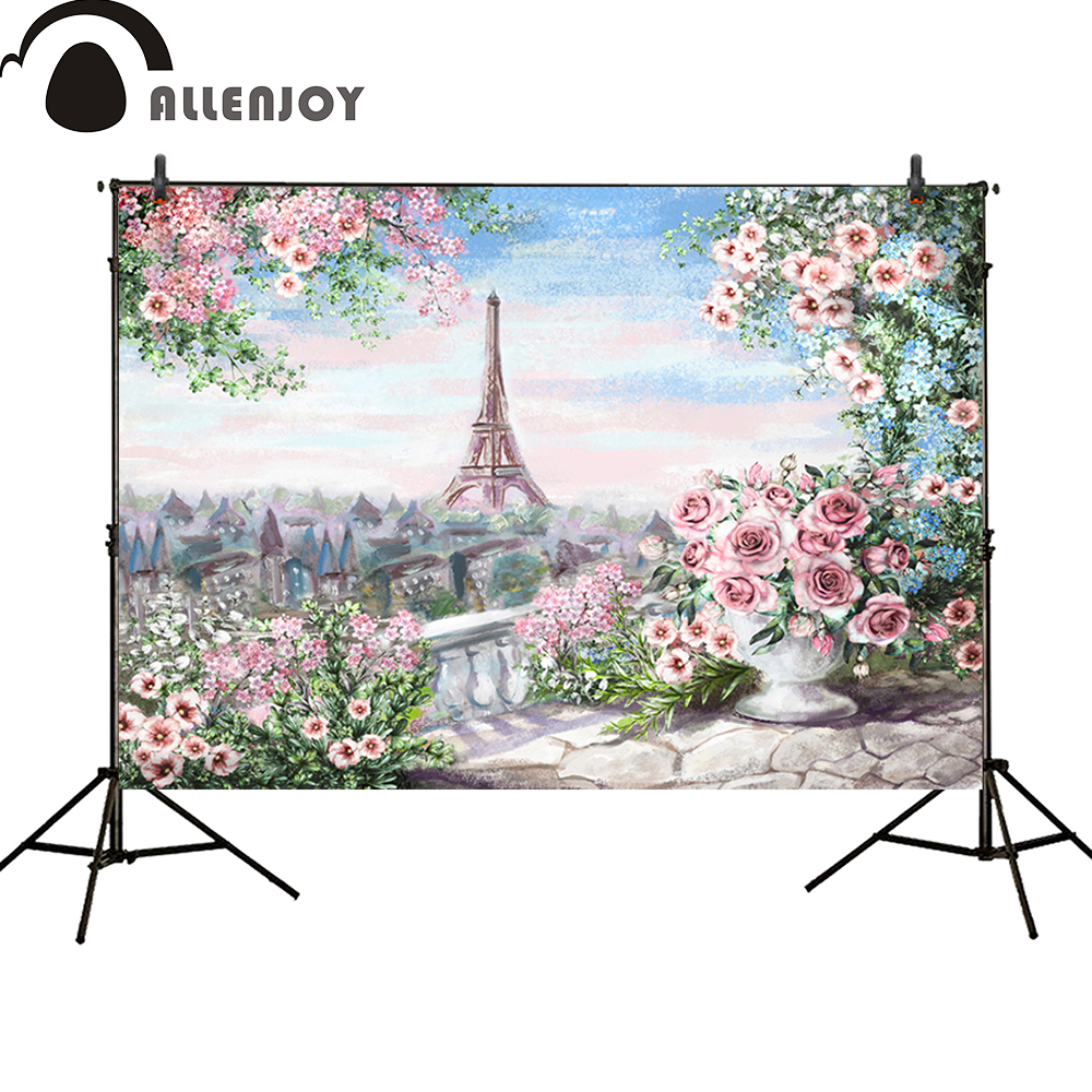 Allenjoy photography backdrop Spring colorful Paris Eiffel Tower pink Flower oil painting  photocall wedding background 8x10ft valentine s day photography pink love heart shape adult portrait backdrop d 7324
