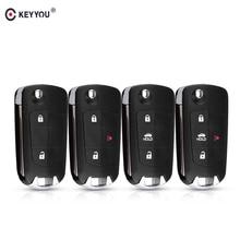 KEYYOU 2/3/4 Button Modified Flip Remote Blank Case Folding Car Key Shell For Nissan Sunny Sentra Versa Tiida With NSN14 Blade