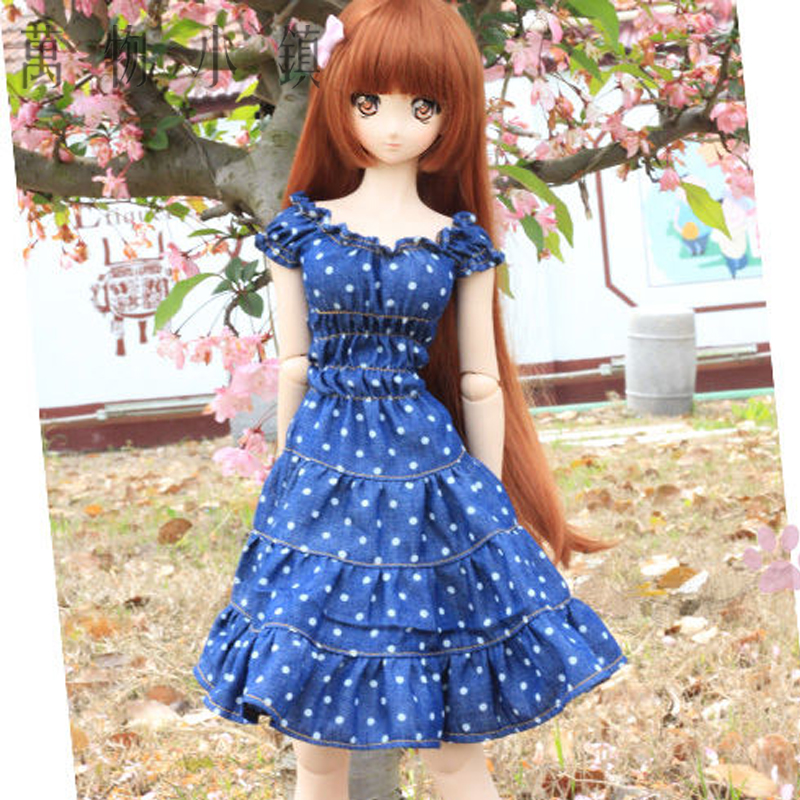 New BJD 1/3 1/4 MSD Smart Doll Clothes Sweet Jeans Wave Point Cute Dress/Skirt casual leather jacket coat for bjd doll 1 6 1 4 msd 1 3 uncle ip soom doll clothes cw52