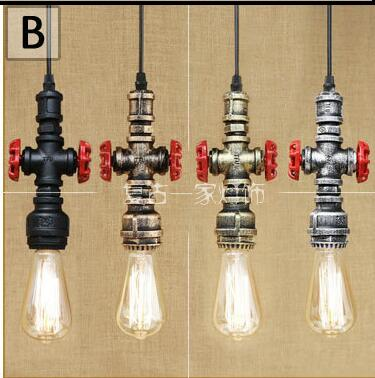 Loft industrial Iron water Pipe steam punk Vintage pendant lamp cord E27 led lights for personalized bar restaurant cafe WPL273