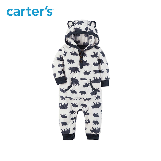 208aa9f20 1pcs Cute animal print soft fleece bear ears hooded jumpsuit snap-up  one-piece Carter's baby boy clothing fall spring 118H389