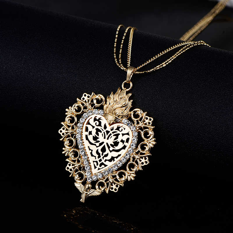 Новый золотой цветок сердце угол Глория кулон ожерелье Кристалл Длинный свитер воротник женские винтажные ювелирные изделия Прямая поставка лучший подарок