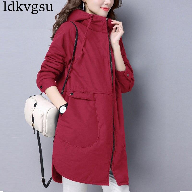 A1261 navy Coupe Grande Pour Femmes Coréenne Femme Coton Vêtements Taille red Mince Longue Lâche Manteau 2018 Nouvelle vent D'hiver Black Occasionnel Automne Veste pHqgq1x