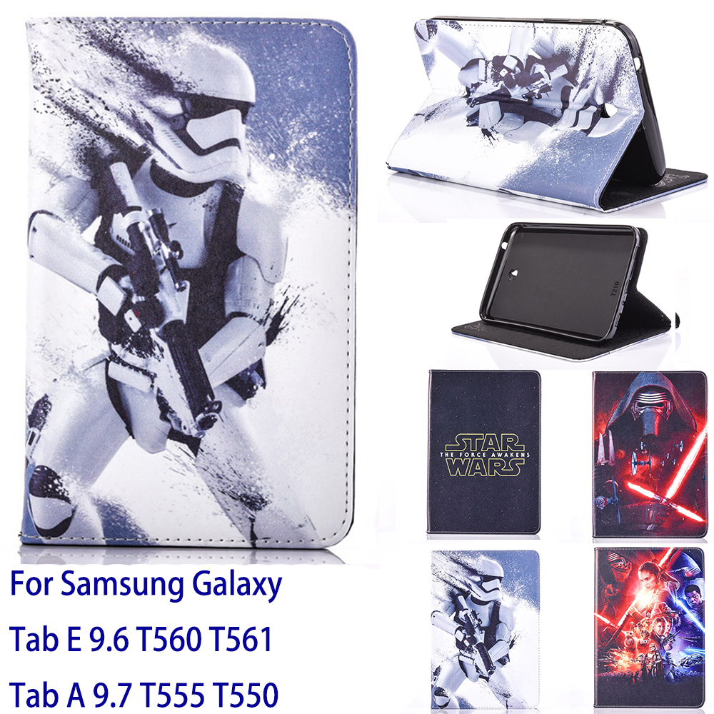 Tablet Case For Samsung Galaxy Tab A 9.7 T555 T550Tab E 9.6 T560 T56 Case Movie Star Wars Cover stand coque para capa