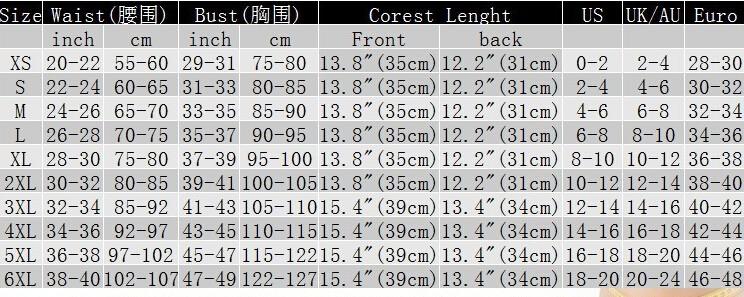 545 steampunk corset size chart