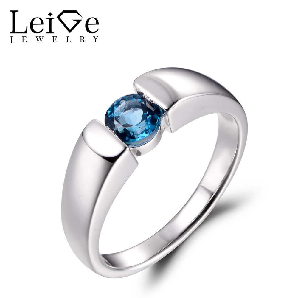 LeiGe Jewelry Real London Blue Topaz Rings Anniversary Rings November Birthstone Blue Gems Ring 925 Sterling Silver Fine Jewelry термокружка gems 470ml blue topaz 1907 77