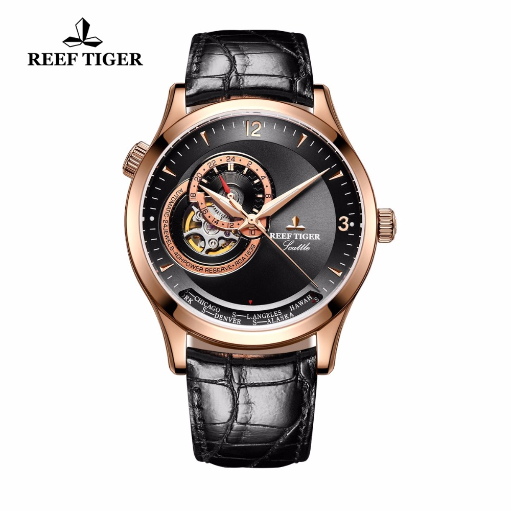 2017 New Reef Tiger/RT Casual Automatic Watches for Men Leather Strap Rose Gold Black Dial Watches RGA1693 yn e3 rt ttl radio trigger speedlite transmitter as st e3 rt for canon 600ex rt new arrival