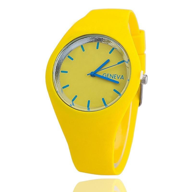 Reloj Mujer New Fashion Brand Watch Women Casual Geneva Sport watches Jelly Silicone Quartz Yellow Wristwatches Zegarek Damski