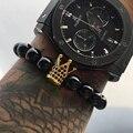 Venta caliente micro pave cz negro zirconia chapado en oro rey crown charm atolyewolf pulsera hombres brillante suave pulseras de cuentas de piedra