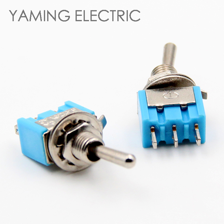 P55 Mini toggle switch ON Blue rocker switch 2 position 3 pins 2 way lever switch 6mm Long Flat handle 2A/250V 6A/125V 5pcs mts 101 blue 6mm 2pin 2file on on rocker switch toggle switch 6a125v