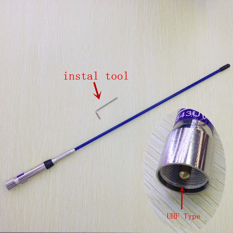 Honghuismart Blue Color Fiber Glass High Gain UHF VHF  Dual Band Antenna For Car Mobile Vehicle Radios 100W