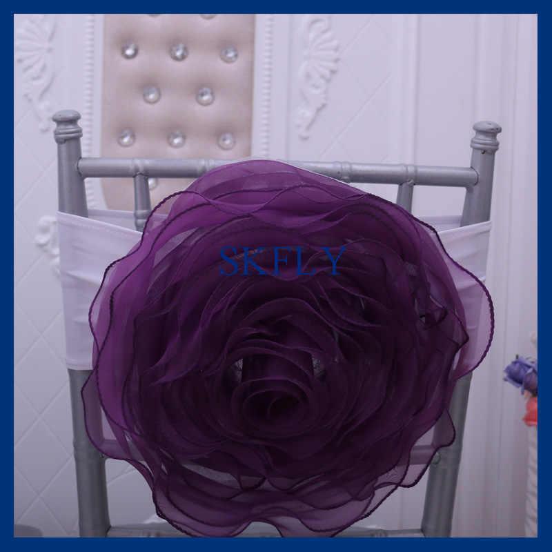 CH091F SKFLY 2019 много цветов Свадебные украшения хорошего качества большая органза фиолетовый синий розовый красный украшение для стула с повязка из спандекса