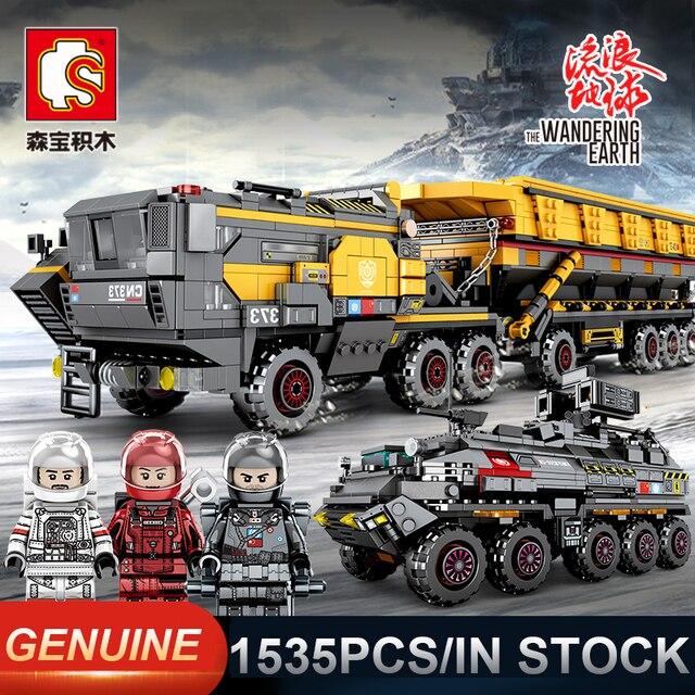 Sembo تجول الأرض 107009 العسكرية تانك فيثر الشاحنات كومبابل تكنيك اللبنات الطوب لعبة تعليمية هدية عيد ميلاد