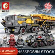 Sembo camions de construction avec terre de marche, chars militaires, blocs de construction techniques comptables, jouet éducatif, cadeau danniversaire, 107009