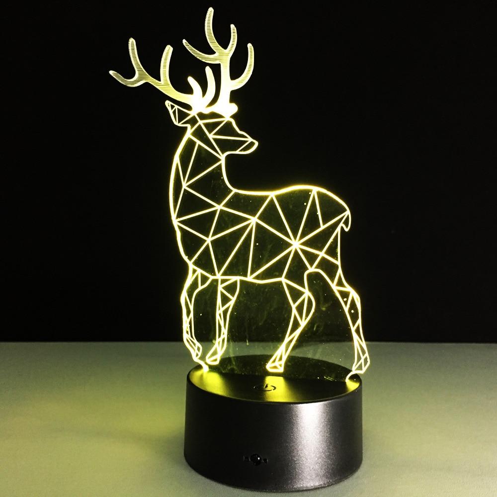 2019 Yenilik 3D Görsel Led Gece Lambası Ren Geyiği Şekli USB Masa - Gece Lambası - Fotoğraf 2