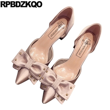 sweet black sandals pumps thin satin pointed toe kawaii modern high heels stud pink new luxury shoes women designers bow 2019