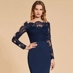 Image 4 - Dressv אלגנטי ארוך שרוולים שמלת ערב מסולסל קצה צוואר חצוצרת תחרה מסיבת חתונה רשמי שמלת ערב שמלות אישית