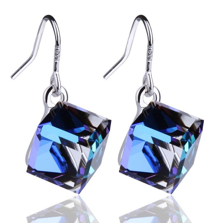 Warme Farben Crystal from Swarovski 925 Silver Earrings Drop Earring Square Cube Dangle Earring Fine Jewelry Gift Lady Brincos