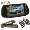 "BEMTOO Wireless LED night vision license plate Reverse Camera Rear View Camera 7""Inch Car Monitor Rear View Mirror LCD Screen"