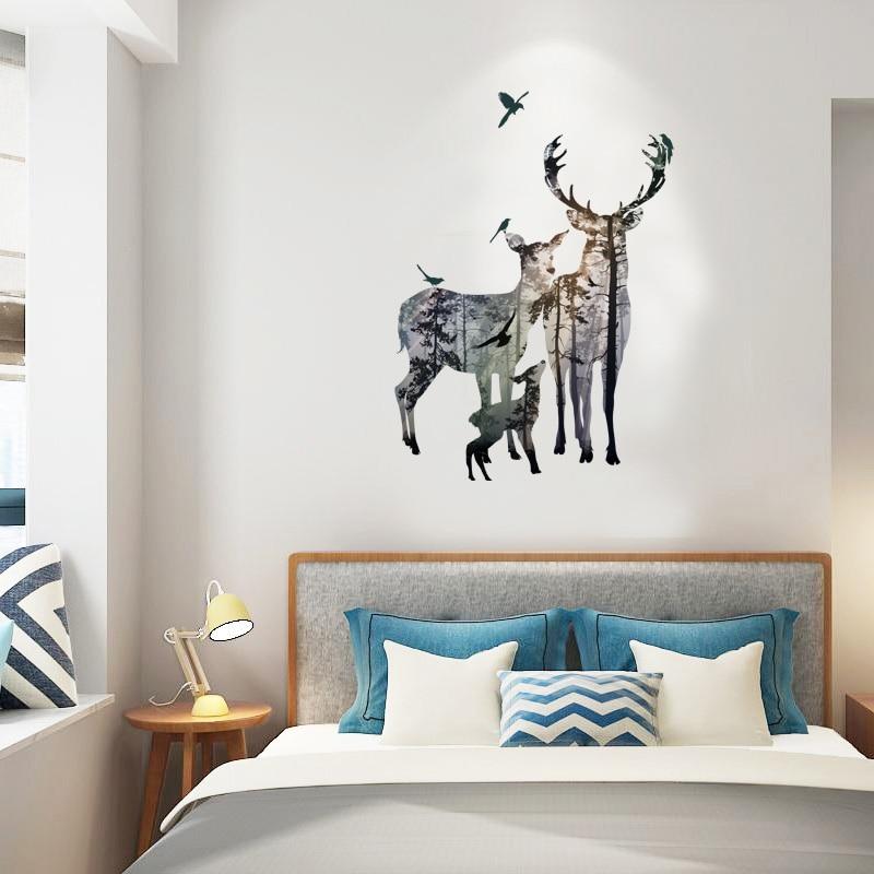 Wohnzimmer Tür, fundecor] elch wald silhouette wandaufkleber dekoration wohnzimmer, Design ideen