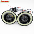2pcs 76mm Car Universal Waterproof COB LED Angel Eyes DRL Driving Light Daytime Running Lights Fog Lamp White/Blue
