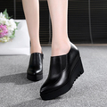 Autumn Wedges platform High heel Shoe genuine Leather For Women's Shoes sy-1775