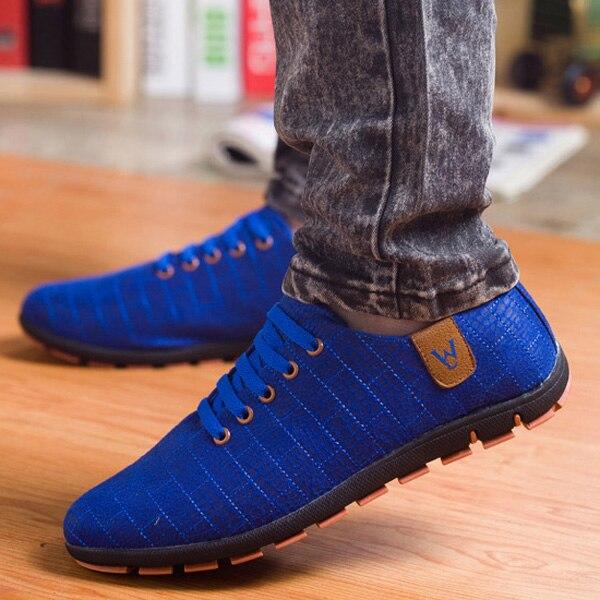 Printemps/chaussures d'été hommes Respirant Hommes Chaussures décontracté Mode Bas à lacets chaussures de toile Appartements Zapatillas Hombre grande taille 45,46, 47 - 4