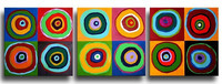 Handpainted Abstract Colorful Round Circles Oil Painting Handmade Canvas Paintings Set Home Decoration Wall Art 3 Piece Pictures