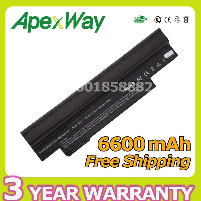 Apexway черный 6600 мАч 11,1 В для Acer Aspire One NAV50 532 532H AO532h 532G AO532G 533 UM09G31 UM09G41 UM09G51 UM09H31 UM09H36