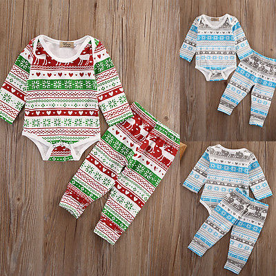 Fashion XMAS Infant Newborn Baby Girl Boy Cotton Romper Pants 2pcs Cute Kids Outfits Set Clothes infant baby boy girl 2pcs clothes set kids short sleeve you serious clark letters romper tops car print pants 2pcs outfit set
