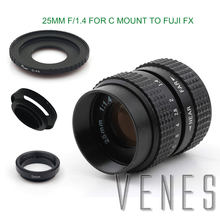 VENES 25mm f/1.4 CC TV Lens for EOS M Micro 4/3 /For Pentax Q For Nex FX NI1 +Lens Hood+Macro Ring+C Mount to camera adapter
