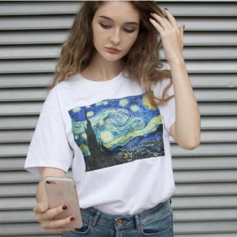 Van Gogh sanat yağlıboya kafes baskı T shirt Kadın beyaz tişört Soyut Büyük Dalga Üstleri tee gömlek Femme Camiseta mujer